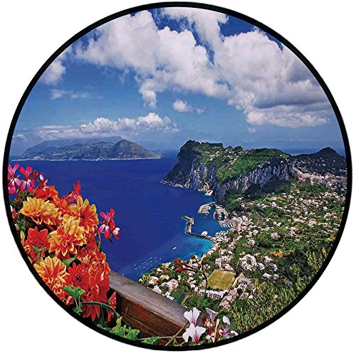 Printing Round Rug,Island,Scenic Capri Island Italy Mountain Houses Flowers View from Balcony Landmark Mat Non-Slip Soft Entrance Mat Door Floor Rug Area Rug For Chair Living Room,Blue Green Orange