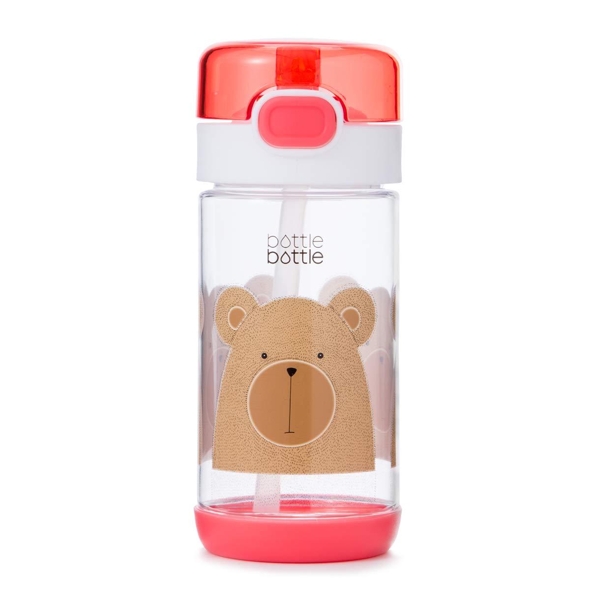 bottlebottle 12オンス真空断熱ステンレススチールKidsウォーターボトルリークプルーフFlip Lid、BPAフリー魔法瓶旅行マグ B07DL448R8 Pink with Bear
