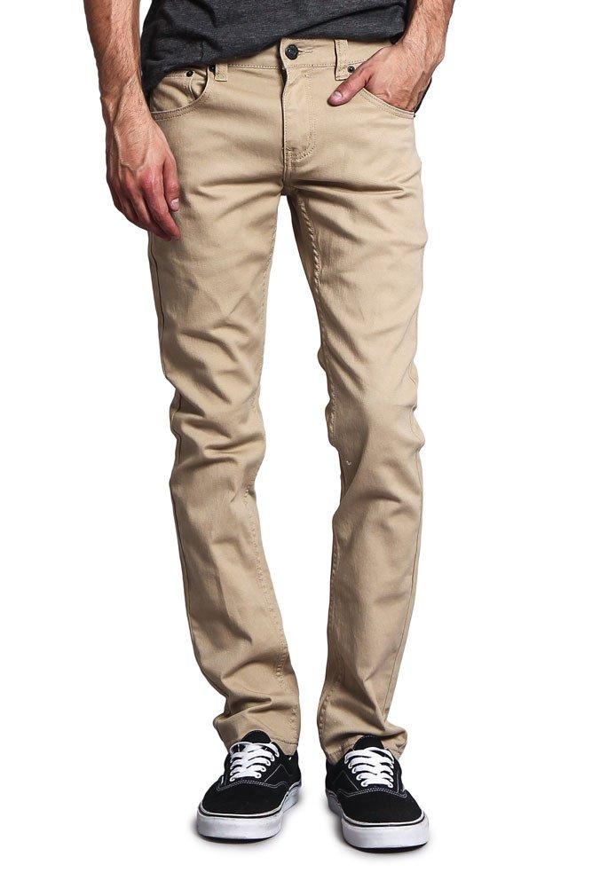 Victorious Men's Skinny Fit Color Stretch Jeans DL937 - KHAKI - 34/32