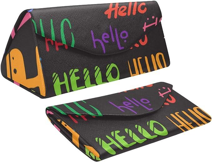 Estuche de gafas de sol plegable para niños Letras Hola Conjunto de palabras escritas a mano Triángulo aislado Estuche de gafas de lectura para hombre Cuero de PU con cierre de imán