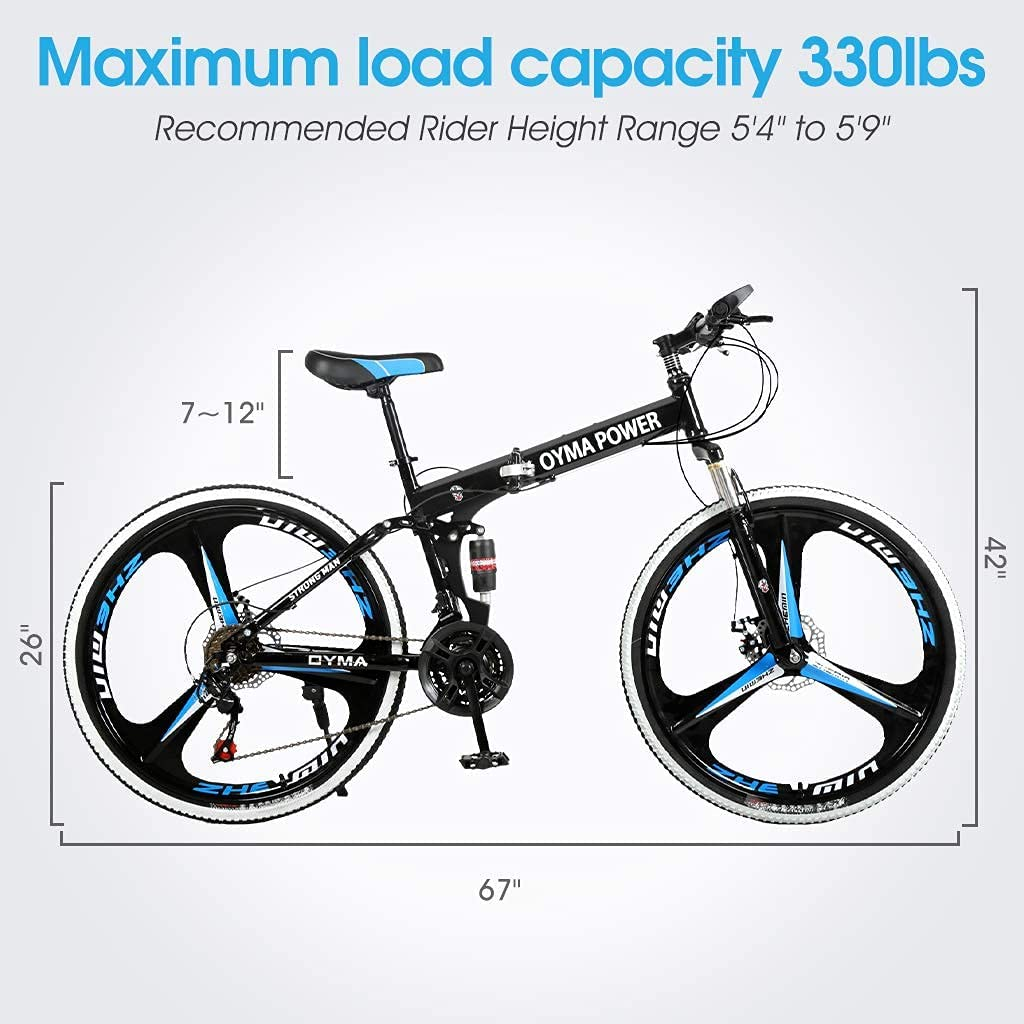 Folding Mountain Bikes for Men /& Women High-Carbon Steel Outdoor Adventures Wasteland Exercise Road Bikes with 21 Speed Dual Disc Brakes Full Suspension Non-Slip 26 inch Adults Mountain Bike