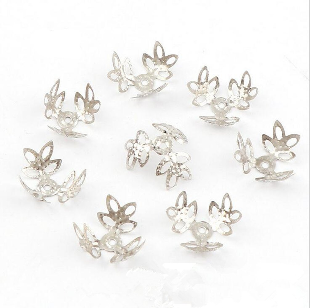 500PCs Gold//Gun Black//White K//Antique Bronze//Silver Tone Flower Bead Caps Clover Hollow Flower Bead Caps For Jewelry Making Antique Bronze