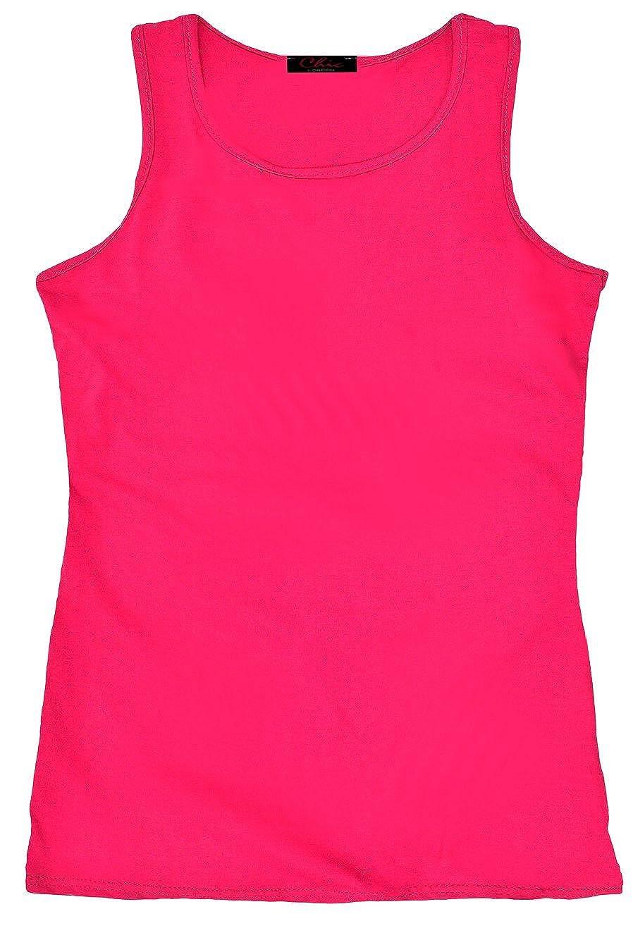 AEL Girls Racer Back Plain Summer Sleeveless Vest Top Kids T-Shirt New 7-13 Years