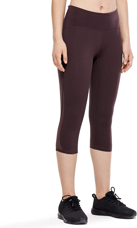 CRZ YOGA Womens Hugged Feeling High Waist Squat-Proof Capri Cropped Mesh Leggings-17 Inches