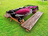 Ambesonne Spa Outdoor Tablecloth, Black Zen Stone Triplets with Asian Originated Orchids and Fuchsia Salt, Decorative Washable Picnic Table Cloth, 58 X 120 inches, Fuchsia Black and Green