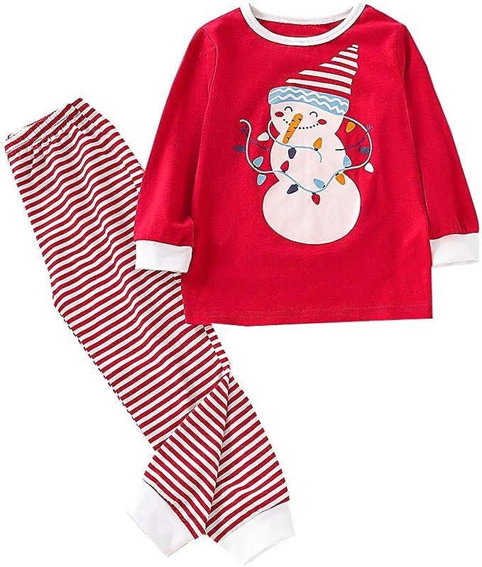 Elyseeseny 2 Pièces Ensemble Pyjama Enfant Noel 2 3 4 5 6 7 Ans Bonhomme De Neige Tee Shirt Pantalon A Rayure Vetement Noël Bebe Garcon Fille Amazon Fr Vêtements Et Accessoires