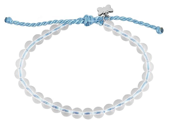 Akzent Pulsera Azul de Nailon con Perlas de Cristal recicladas y Elementos de Acero Inoxidable.