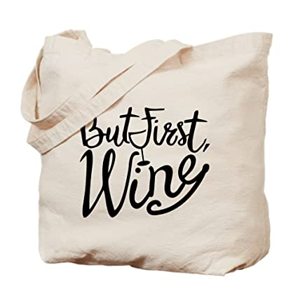 7f5391e019 Amazon.com  CafePress - But First Wine - Natural Canvas Tote Bag ...