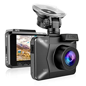 "4K Dash Cam,AZDOME Ultra HD 2160P Dash Camera Built-in GPS and WiFi 170 °Ultra HD Wide Angle,2.4"" LCD,G-Sensor, WDR Super Night Vision, Loop Recording, Parking Monitor, Motion Detection"