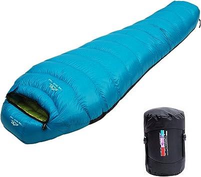Saco de dormir para acampar de LMR, con saco de compresión, azul celeste: Amazon.es: Deportes y aire libre