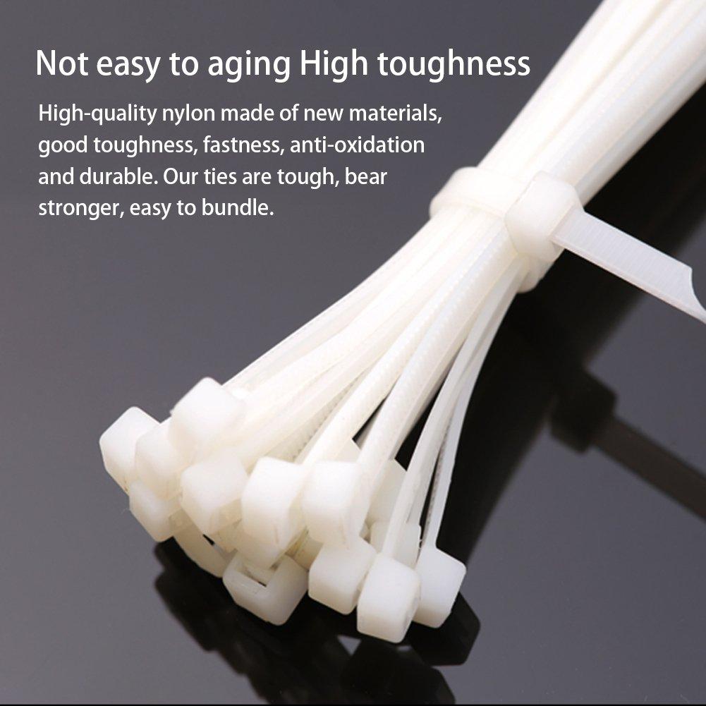 White Nylon Cable Zip Ties, 600 Pieces Adjustable Nylon Cable Zip Ties by OEXEO (Image #4)