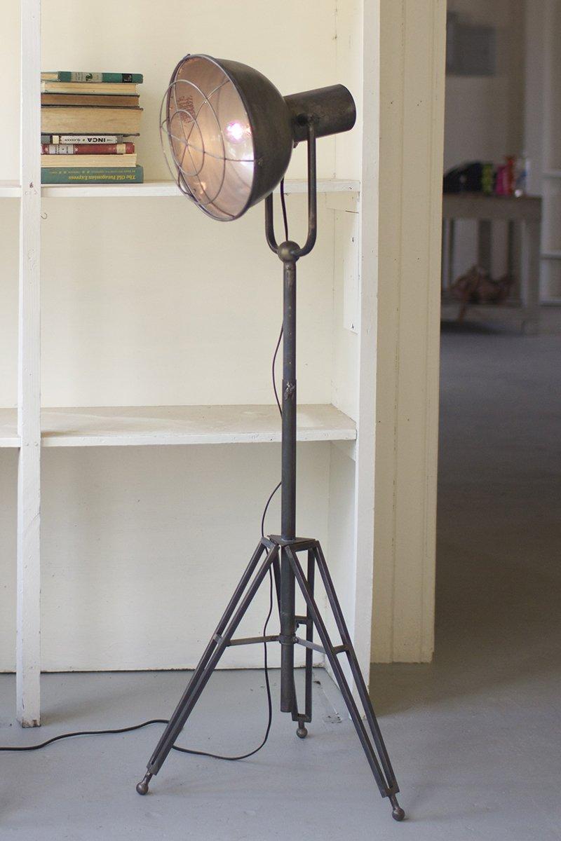 Kalalou Caged Studio Lamp - Solid Brass