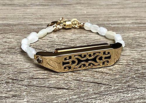 Gold Moonstone Bracelet (White Moonstone Bracelet For Fitbit Flex 2 Fitness Tracker Handmade Natural Shape Stones Fitbit Flex 2 Band Gold Metal Holder Magnetic Clasp Jewelry Adjustable Size Flex 2 Bracelet)