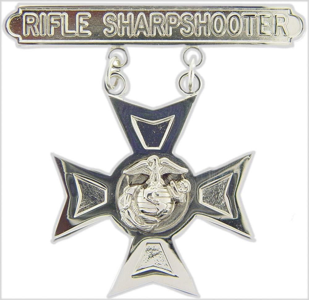 Rifle Sharpshooter USMC US Marine Corps Rifle Sharpshooter 1.875 Qualification Badge Lapel Pin