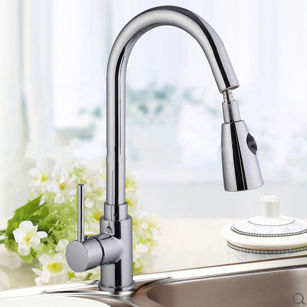 Modern Kitchen Sink Faucet | Blackpoolfa 16inch Superior One-Handle Kitchen Faucets with Pull Down Sprayer (Chrome Finish, Silver -01)