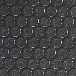 Rubber Cal Coin-Grip Flooring and Rolling Mat, Black, 2mm x 4 x 10-Feet