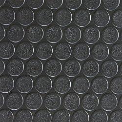 Rubber Cal Coin-Grip Flooring and Rolling Mat, Black, 2mm x 4 x 10-Feet