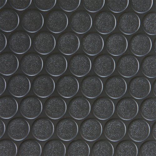 Rubber Cal Coin-Grip Flooring and Rolling Mat, Black, 2mm x 4 x 40-Feet - Pvc Flooring