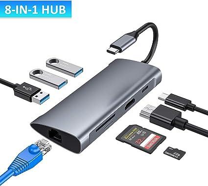 100W Power Delivery Carga Aceele Hub USB C Puerto Gigabit Ethernet 8 en 1 Adaptador Tipo C con 4K HDMI Huawei Google Chromebook Pixel 3 Puertos USB 3.0 y Lector de Tarjetas SD//TF para MacBook