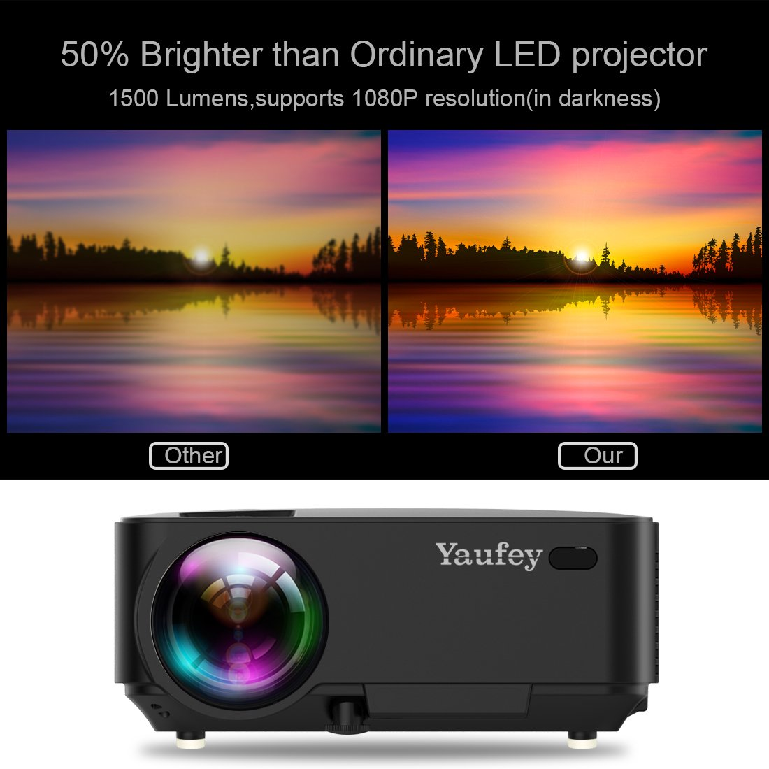 yaufey Proyector,1500 lumenes Mini LED Multimedia Home Cinema ...