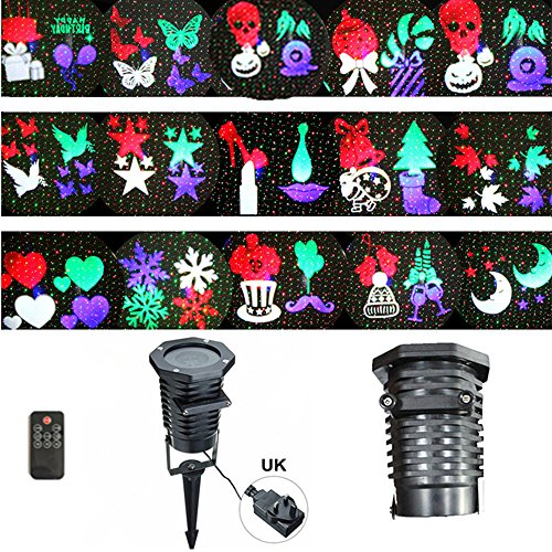 Combo Rotating Projection Led Lights 15PCS Pattern Lens Christmas Sky Stars A]()