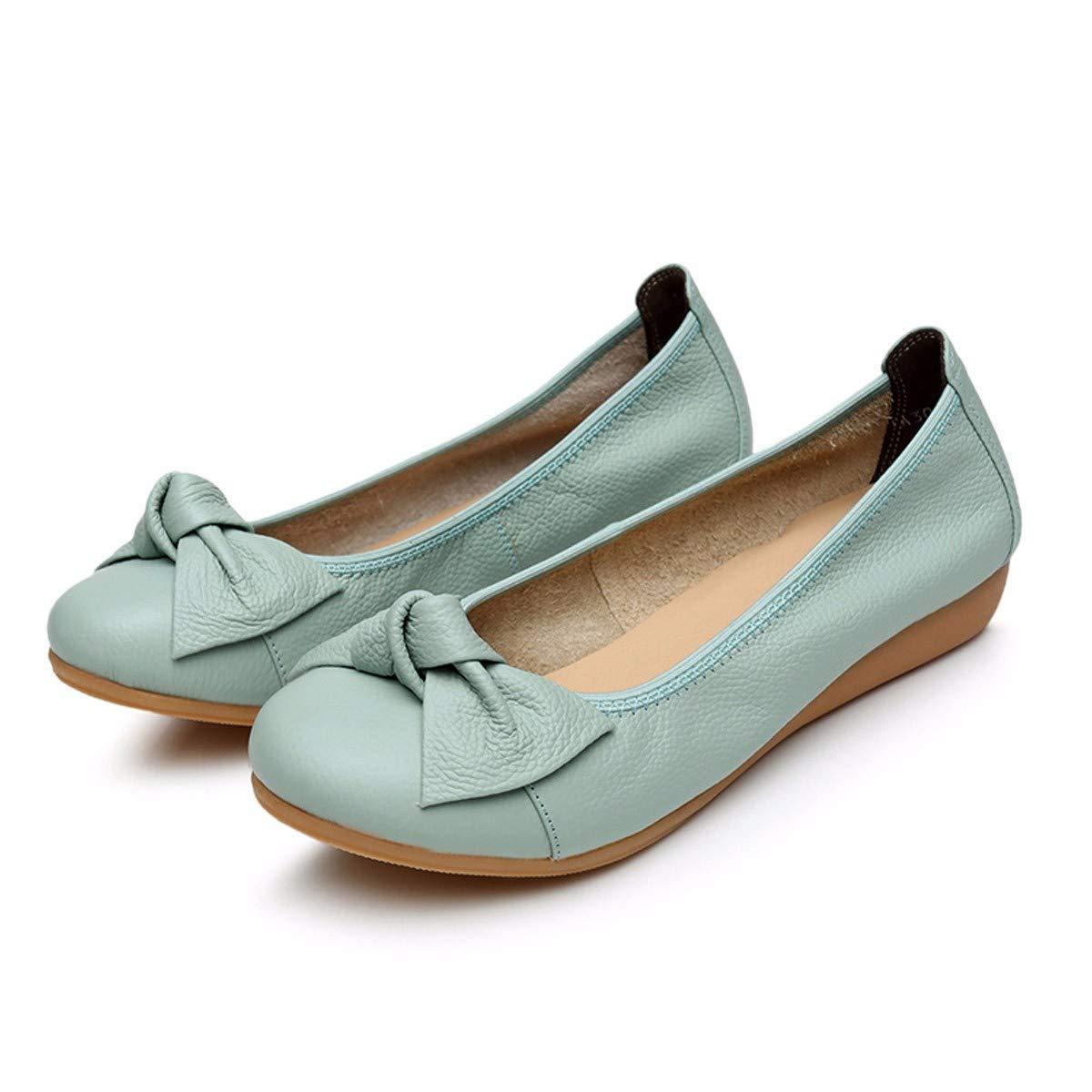 KPHY-Sommer - Dou - Schuhe Frauen Echtes Leder Mama Schuhe Weichen Boden Damen Lederschuhe Flache Sohle Schuhe Alle Arten von Betagten Frauen Schuhe Die Bequem.