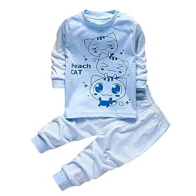2PC Baby Suit PEACH CAT Print Suits Sets,Aritone Kids Infant Page Party Suits Pajamas Sets 18M-4T