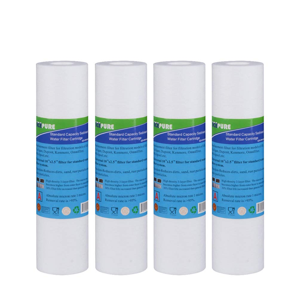 """Big Blue Sediment Replacement Water Filters 5 Micron 10"""" x2.5"""" Cartridge 4 Pack"""