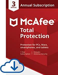 McAfee Total Protection - 3 Devices, 1 Year Subscription with Auto Renewal [Subscription]