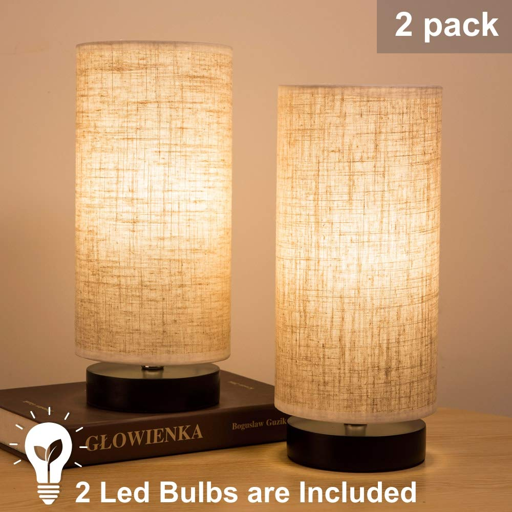 ZEEFO Bedside Table Lamp, Modern Simple Design Desk Lamp with Cylinder Fabric Shade and Black Base, Included 2 Led Bulbs, Perfect for Home, Bedroom, Living Room, Office, Sturdy (Set of Two) ZF-T6-2P