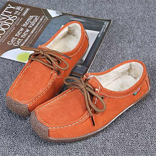 Eagsouni Women's Suede Leather Driving Moccasins Slip-On Penny Loafers Casual Boat Shoes Flats Orange 2BhHQ