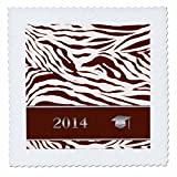 qs_180903_1 Beverly Turner Graduation Design - 2014 Zebra Print with Graduation Cap, Coral - Quilt Squares - 10x10 inch quilt square