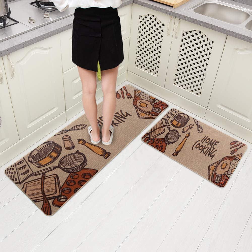 """Carvapet 2 Pieces Non-Slip Rubber Back Kitchen Runner Set Floor Mats Bathroom Rug Doormat Runner, 18""""x59""""+18""""x30"""", Home Cooking"""