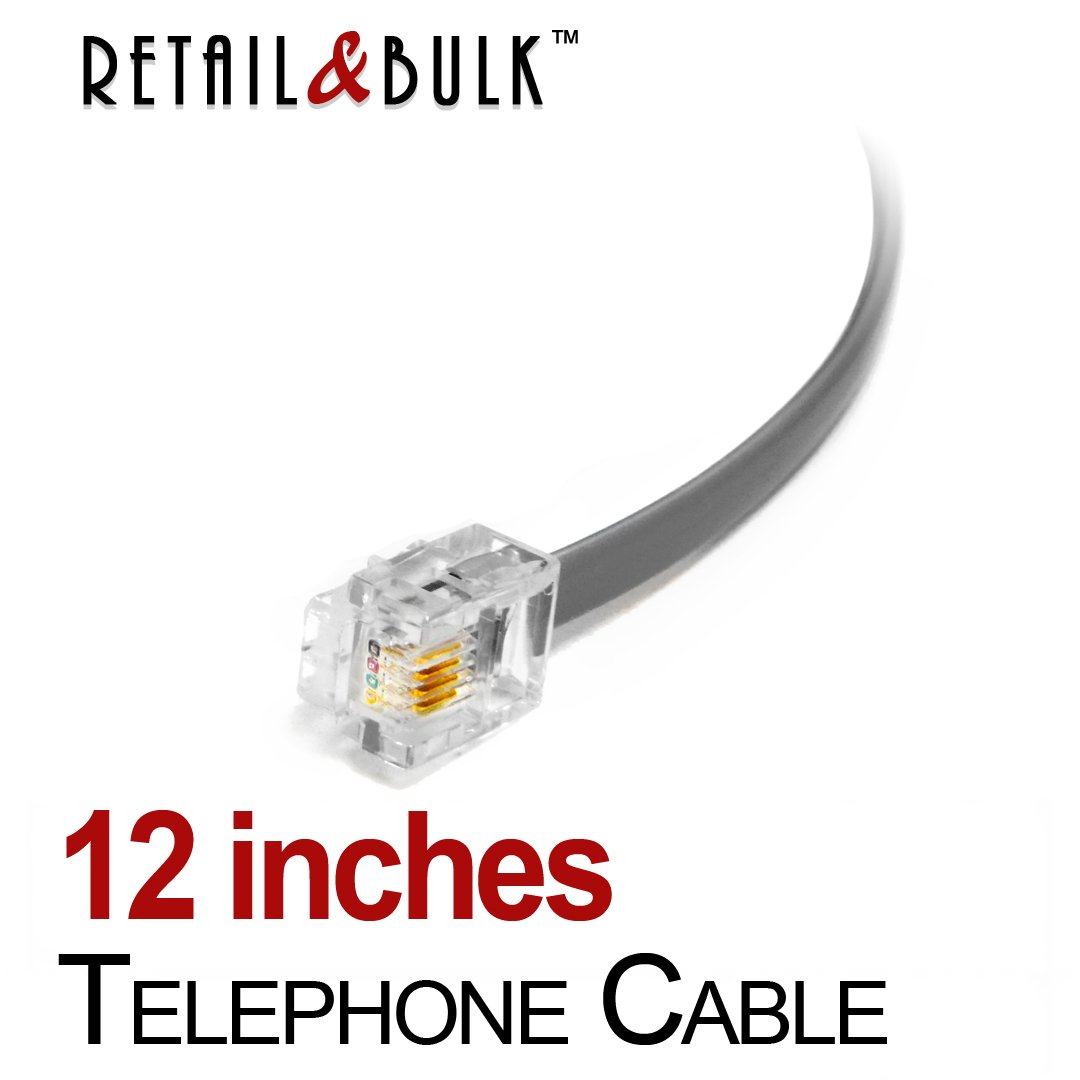 12 Inch Premium Quality Telephone Cable, RJ11 Male to Male 6P4C Phone Line Cord. Made in USA by Retail&Bulk (1 Foot, Gray)