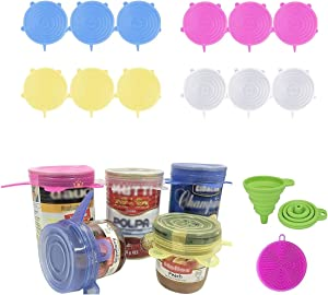 DARUNAXY Silicone Stretch Lids, 12 pcs Assorted Color Same Sizes and Shape of Containers,Reusable, Durable and Expandable Food Covers, Keeping Food Fresh, Dishwasher and Freeze (Diameter 2.6