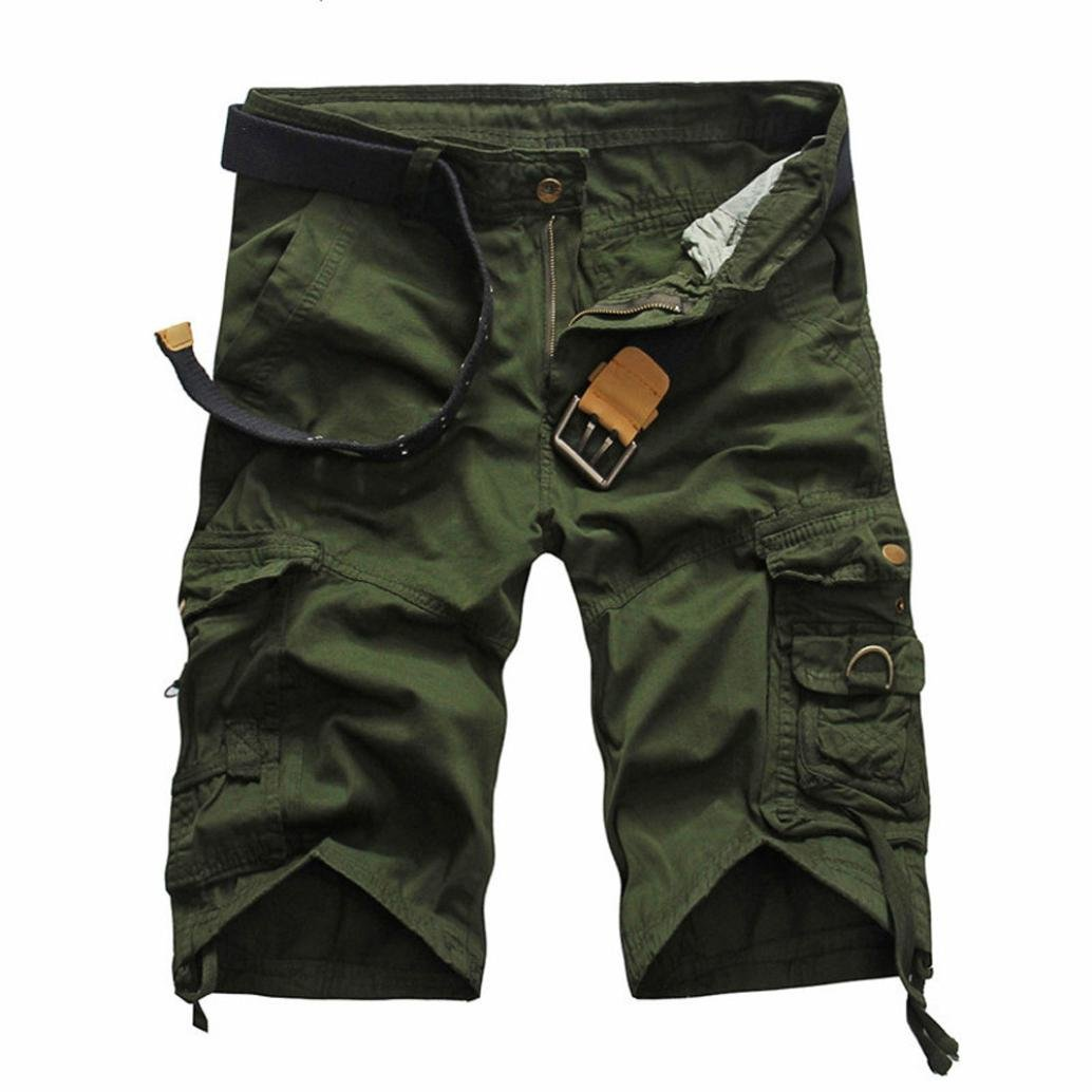 PASATO Clearance!Fashion Mens Casual Pocket Beach Work Casual Short Trouser Shorts, Classic Comfortable Cotton Pants(Army Green, 38)