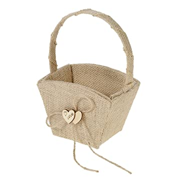 Decdeal wedding burlap flower girl basket with wooden heart decdeal wedding burlap flower girl basket with wooden heart decoration wedding supplies junglespirit Image collections