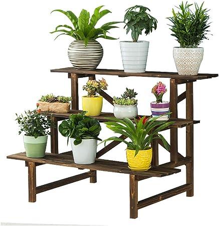 YH Soporte De Flores Jardín Interior Y Exterior Planta En Maceta Soporte 3 Capas Soporte De Exhibición De Plantas Estante 98x60x68cm A+: Amazon.es: Hogar