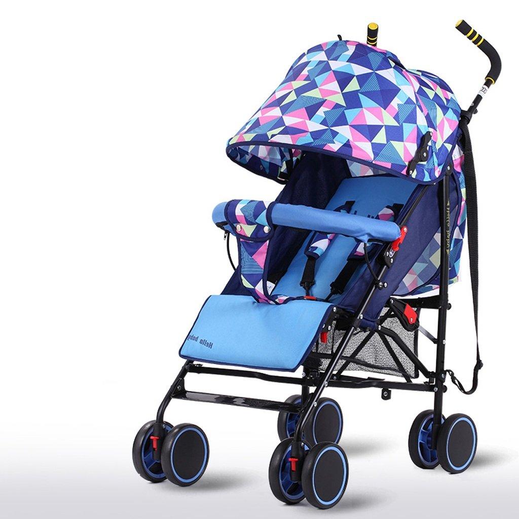 赤ちゃんのベビーカー軽量シンプルフィット折りたたみシットトゥゲザー子供用トロリー(ブルー)(赤)61 * 102cm ( Color : Blue ) B07BSV9J17