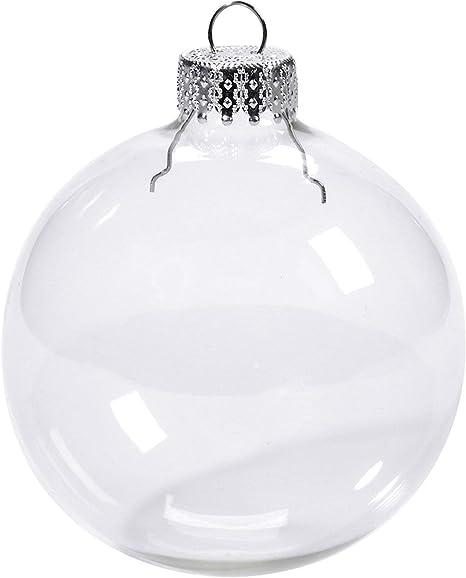 stabile Christbaumkugeln aus Kunststoff 6x Weihnachtskugeln weiß//transparent
