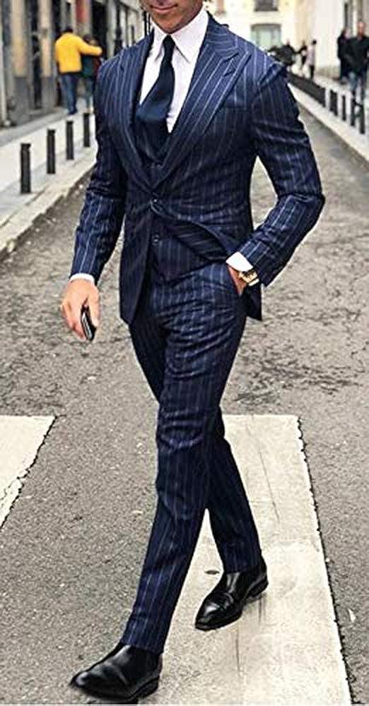 QZI Uomo Abito a Righe Slim Fit con Risvolto a Picco 3 Pezzi Giacca Gilet Pantaloni Set