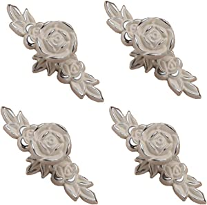 Joyindecor Euro Rose Cabinet Knobs with Backplate, Vintage Kitchen Zinc Alloy Flower Drawer Pull Handles for Dresser Vanity Nightstand Cupboard Wardrobe with 2 Size Screws, 4 Pack (Silver Edge)