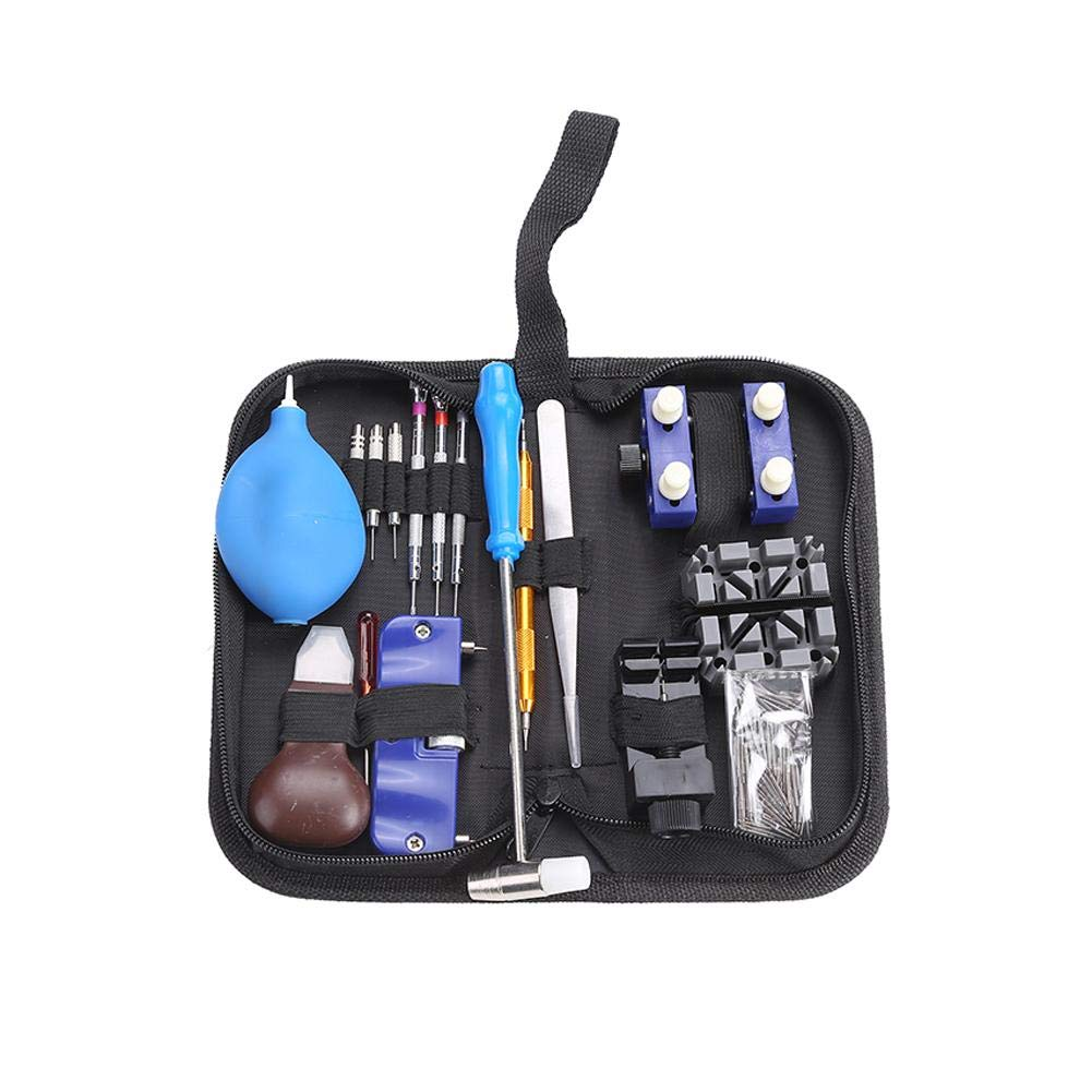iBaste_S 124Pcs Watch Repair Tool Kit Set Professional Watch Back Case Holder Opener Link Remover Spring Bar Watchmaker Tool Kit with Carrying Bag