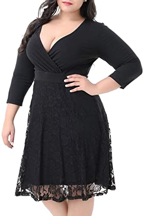 042b77d76 Image Unavailable. Image not available for. Color: KILOLONE Plus Size  Dresses for Women 1950s ...