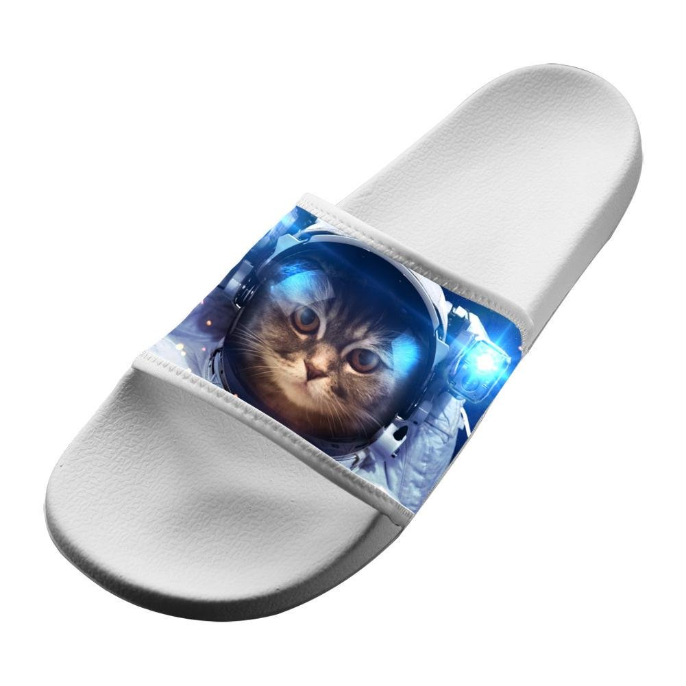 Cute Cat in Space Unisex Adullt Home Sandals Slippers Beach Flats Flip Flops Open toed Slide Shoes