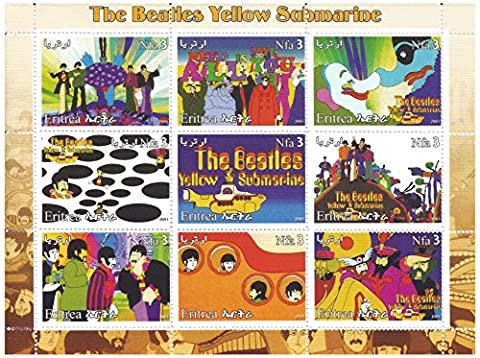 The Beatles Yellow Submarine stamp sheet with 9 mint stamps - psychedelic artwork from the (Francobollo Anno Set)