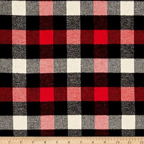Brushed Cotton Fabric - Robert Kaufman Kaufman Tahoe Flannel Plaids 7.2 Oz Double Brushed Small Buffalo Red Fabric by The Yard, Red