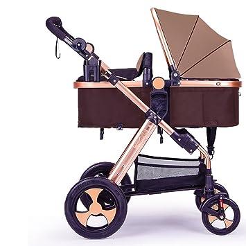 Carrito de bebé recién nacido, carro de bebé, cochecito de bebé de alto perfil, puede sentarse abajo de amortiguar el coche (Color : Marrón) : Amazon.es: ...