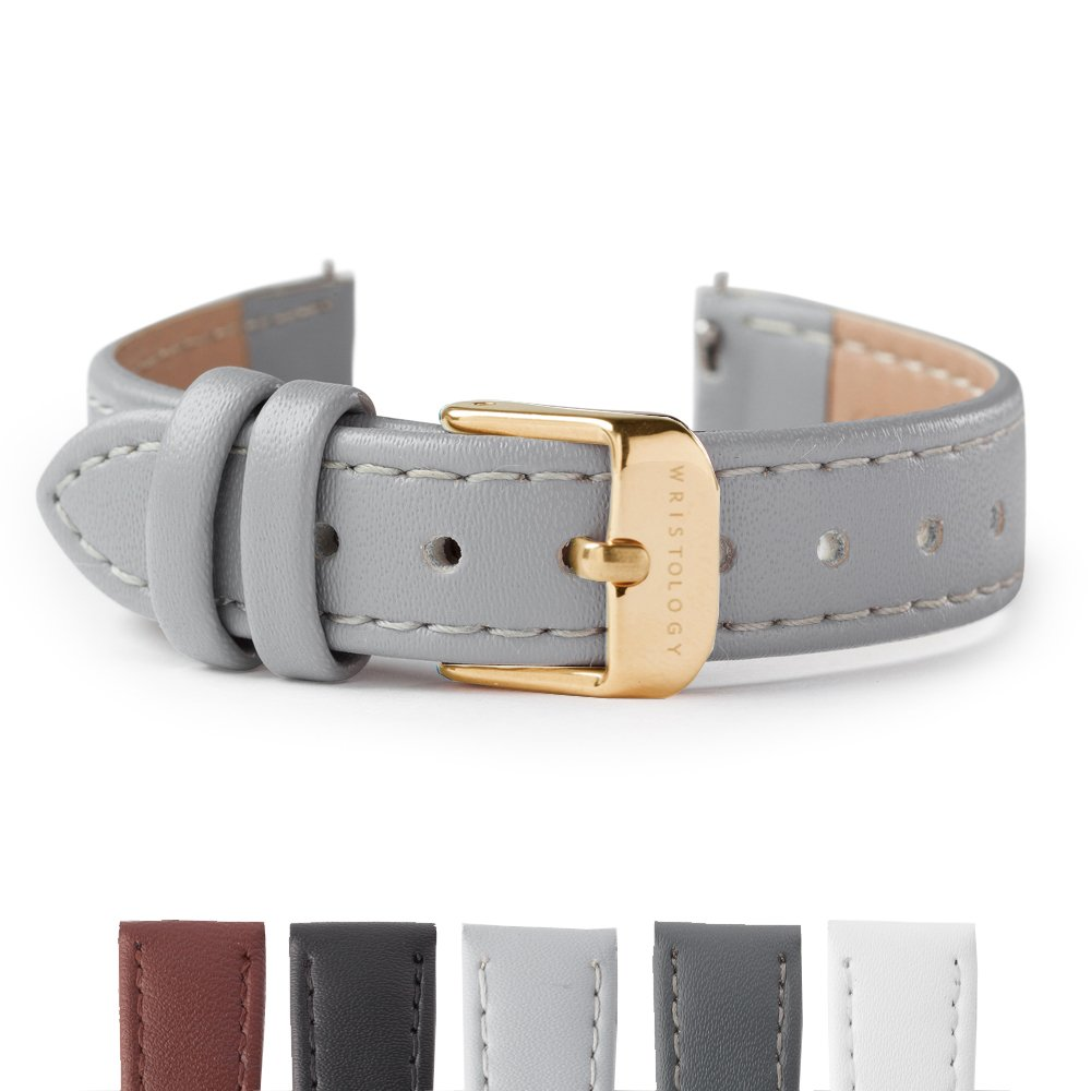 Wristology Gold 14mm Womens Easy Interchangeable Stitched Leather Watch Band (Gray)