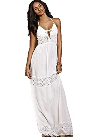 d9cb88796ce Victoria s Secret Eyelet Maxi Dress Small 6 White Linen at Amazon Women s  Clothing store
